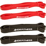 """Pull Up Assist Band by 4KOR Fitness - Heavy Duty 41"""" Resistance Band (from 5 to 175 lbs) for Mobility, CrossFit, Weightlifting, Therapy, Home or Gym Workouts and More - SINGLE BAND OR SET"""