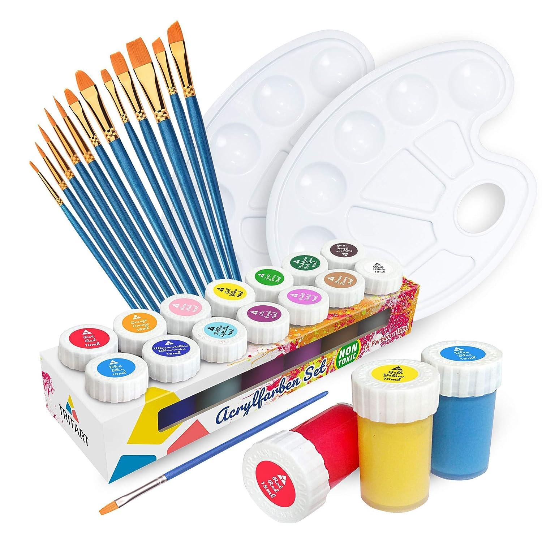 Tritart Zestaw farb akrylowych dla dzieci i dorosłych z 12 pędzlami