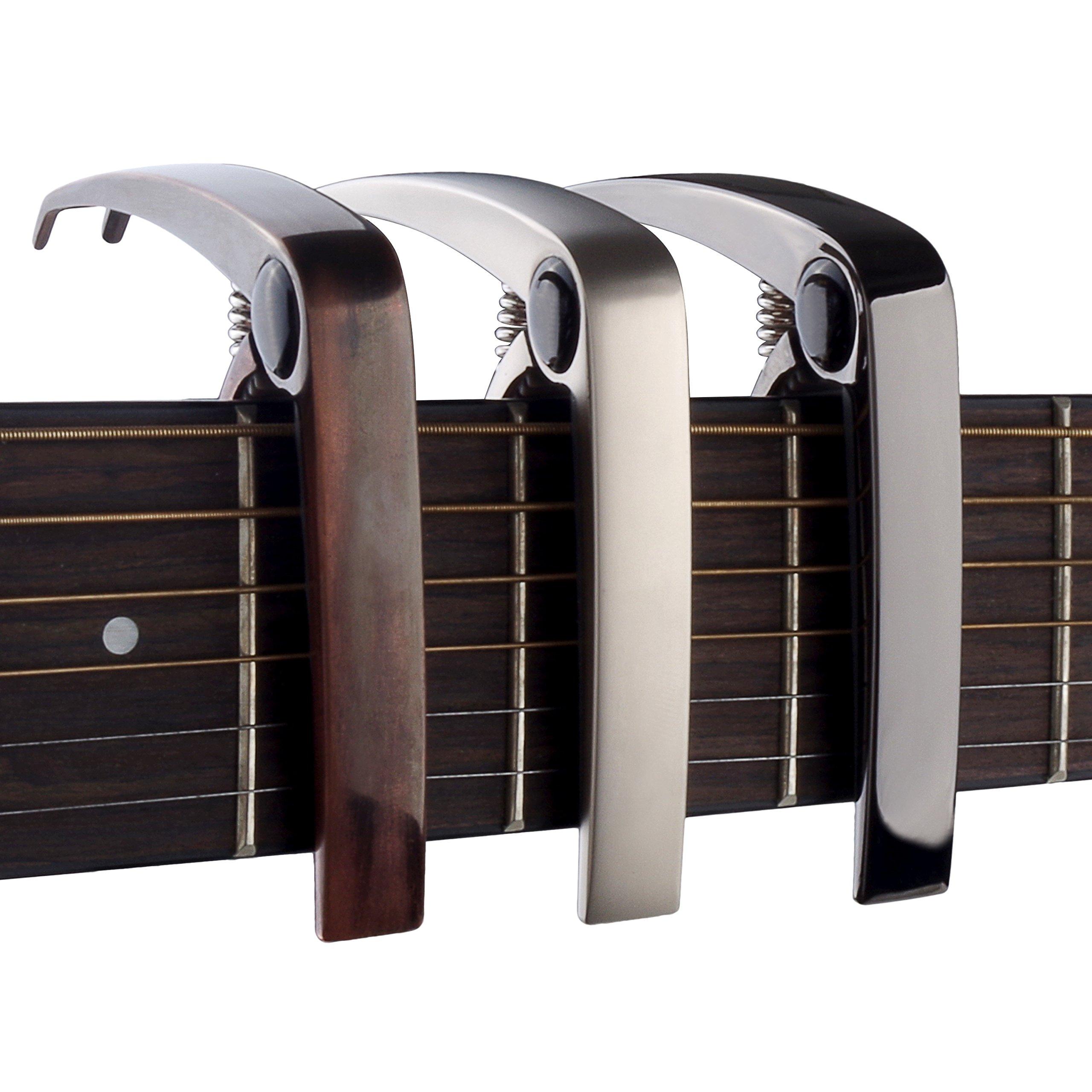 Cejilla Guitarra para Guitarra Electrónica Clásica Acústica Aleación de Zinc Fácil de poner,duradero,Muy Robusto y Rápido de colocar(Argénteo)