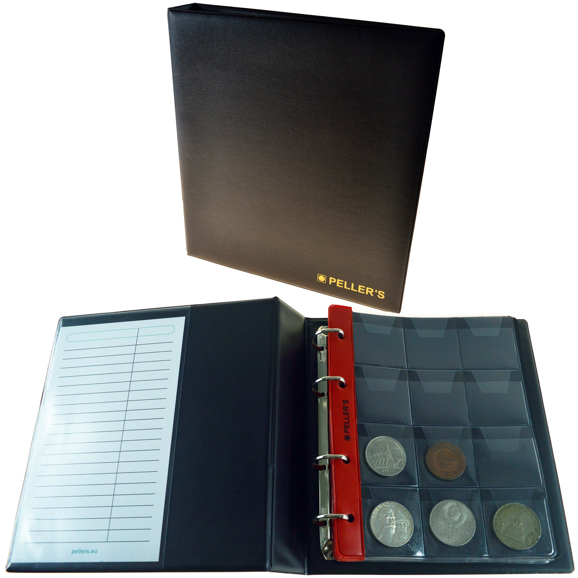 PELLER'S Coin Album for 120 Big Coins with a Diameter up to 1.57'' (40mm). 10 Pages with 12 Pockets 1.81'' x 1.97'' (46x50mm) on The Page & 10 Interleaves. Model M.