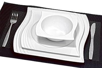Porzellan Tafelservice Für 6 Personen Im Modernen Design Geschirr  Essservice Teller Set