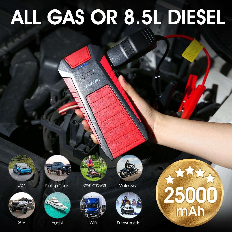 SUAOKI U27 Punta 25000 mAh portátil Auto ayuda de arranque adecuado para motores de gas y diésel y motocicletas, con linterna LED, tipo C USB y pinzas de batería inteligentes: Amazon.es: Coche