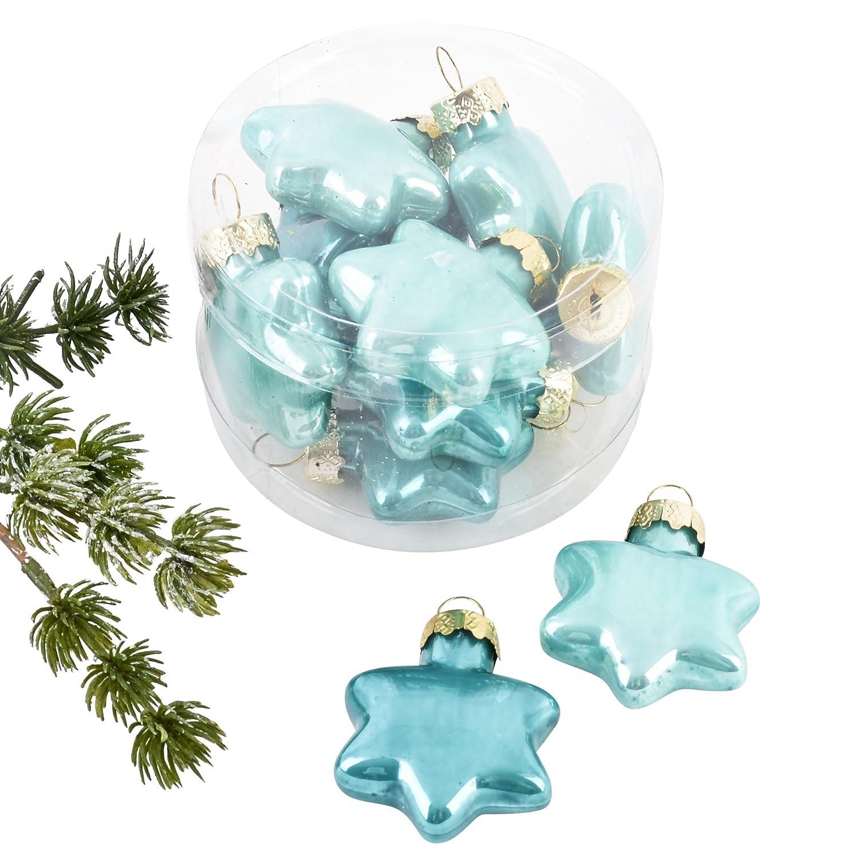 Aqua Dadeldo Weihnachtskugel Sterne Premium 10er Set Glas 4x4x2cm Xmas Baumschmuck