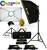 "LITEBOX LED Photography Lighting Kit Box Lights for Filming Video & Photoshoots (DIMMABLE) 5500K Daylight Continuous Output Lights, Stands, Diffusers & Travel Bag - 20"" x 28"""