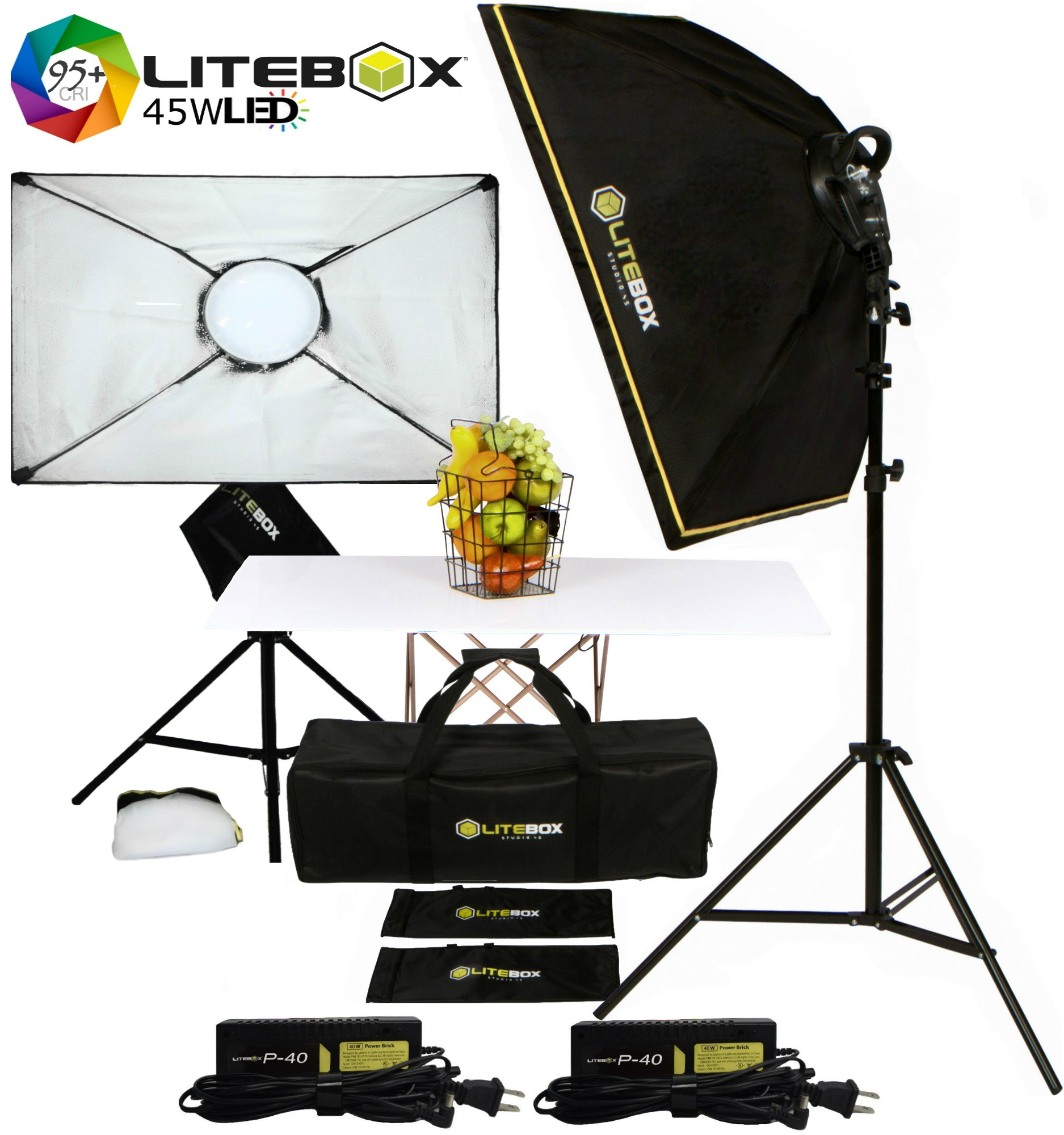 LITEBOX LED Softbox Lighting Kit for Professional Photography & Video - (Set of 2)