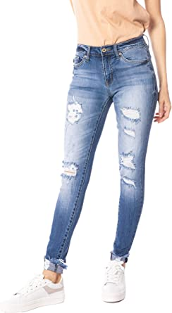ST Kan Can Mid-Rise Fringe Ankle Skinny Jeans