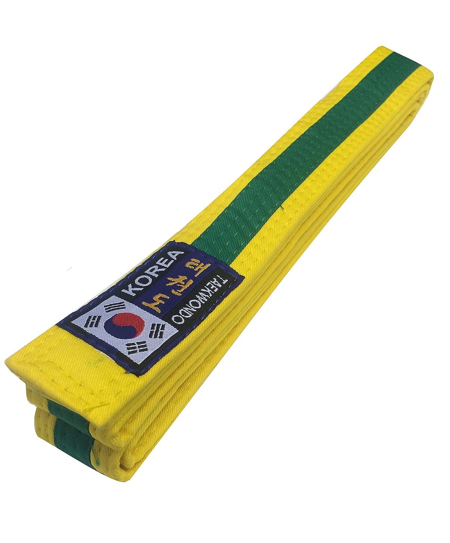 Artes Budodrake Corea Taekwondo Cintur/ón Amarillo de Color Verde