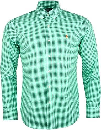 Ralph Lauren Camisa Ajustada de Sport a Cuadros Manga Larga Hombre (Verde): Amazon.es: Ropa y accesorios