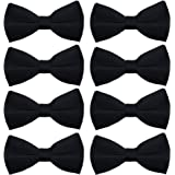 AVANTMEN Men's Bowties for Boys 8 Pack Satin Pre-Tied Bow Tie Formal Tuxedo Adjustable Length Large Variety Colors