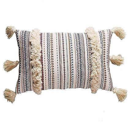 Amazon FLBER Decorative Pillows Throw Boho Pillow Tassel Sham Delectable Decorative Tassel Pillows