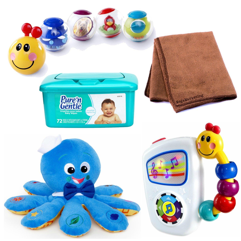 Baby Einstein Rollar Pillar Activity Balls, Baby Einstein Take Along Tunes Toy, and Baby Einstein Octoplush Plush Toy, Bundle with Baby Wipes and Cleaning Cloth