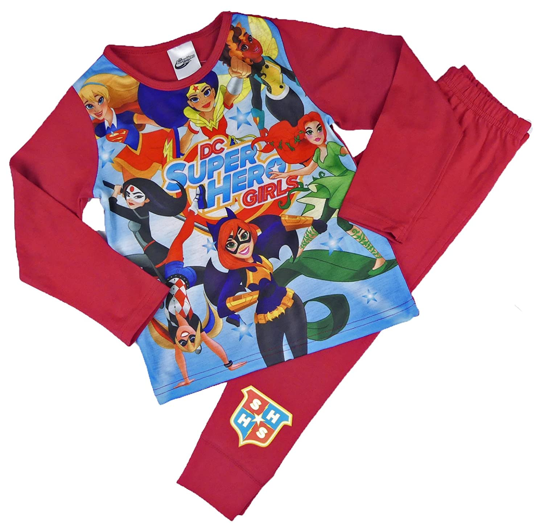 Girls Pyjamas PJs DC Super Hero Girls Wonder Woman Super Girl 4-5 to 9-10 Years Red)