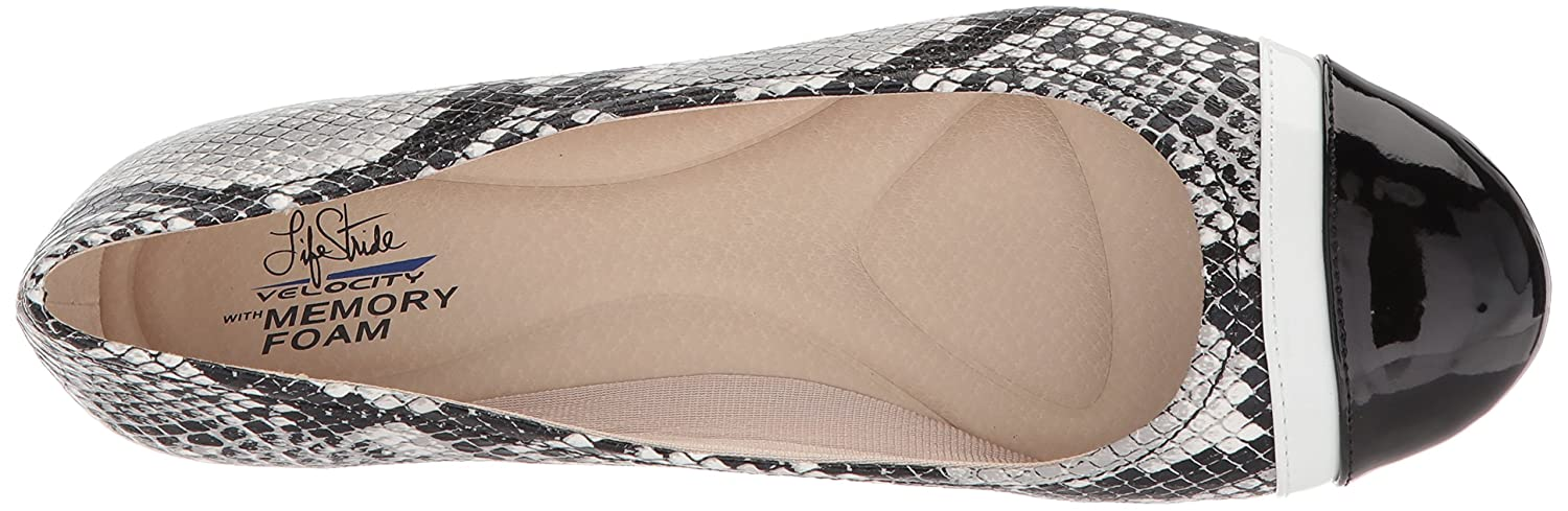 LifeStride Women's Playful Ballet Flat B077615YBD 7.5 B(M) US|Black/White