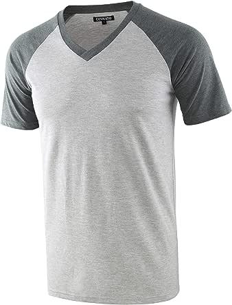 DESPLATO Mens Casual Vintage Short Raglan Sleeve Baseball V Neck Active T Shirt