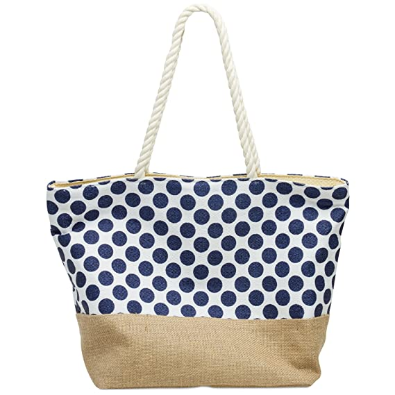 39ad2cab74 CASPAR TS1036 Joli sac de plage ou de shopping avec imprimé à pois et fond  toile