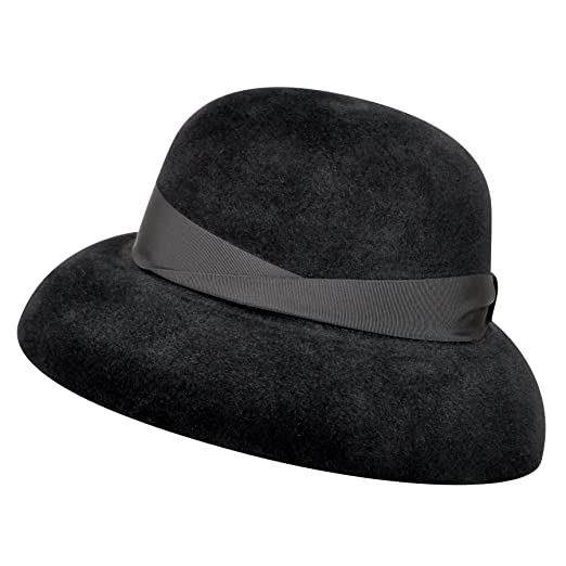 b9edcae149d Borsalino Women 250385 Velour Fur Felt Wide Brim Hat Black M at ...