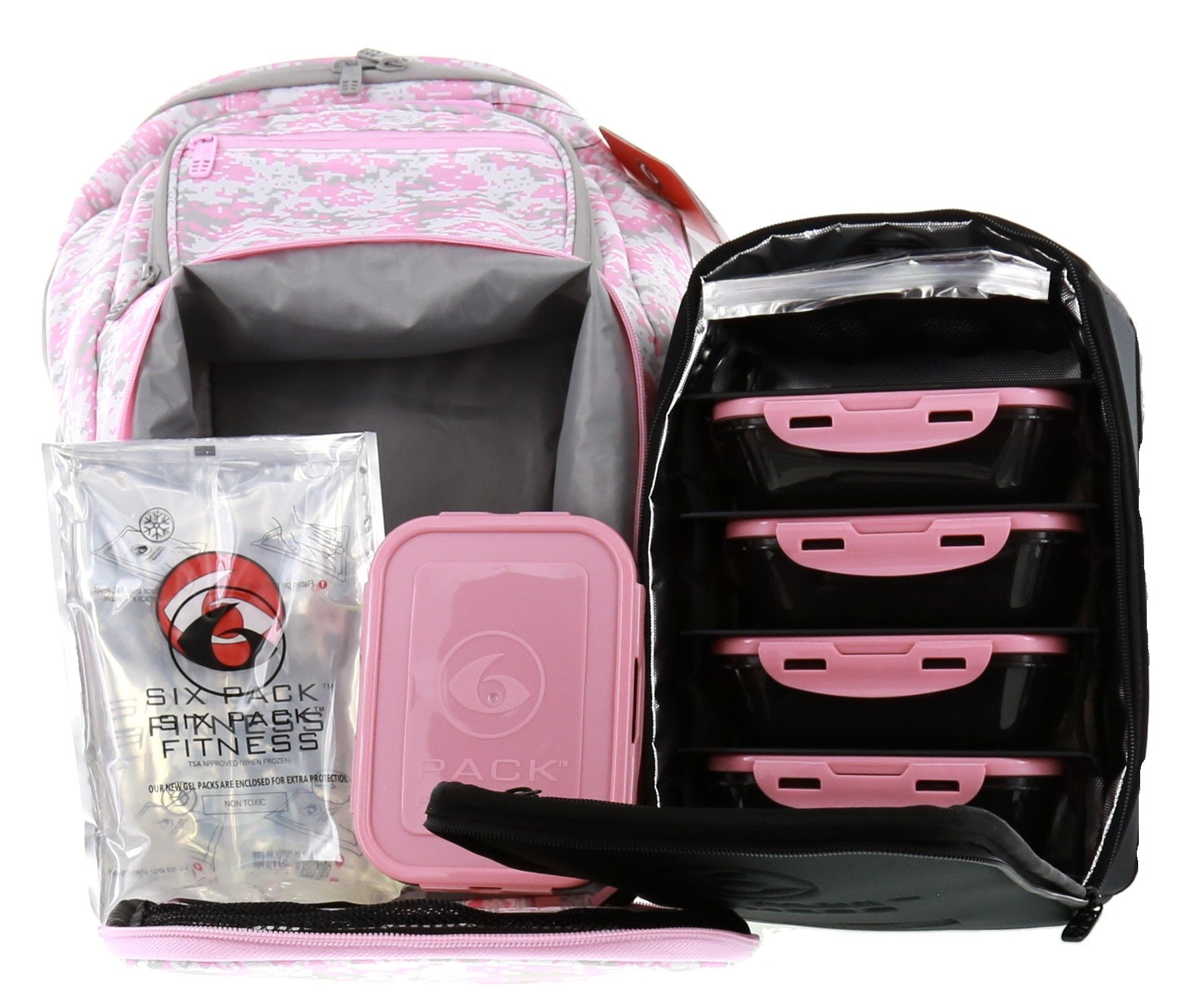6 Pack Fitness Expedition Backpack W/ Removable Meal Management System 500 Pink & Grey Digital Camo w/ Bonus ZogoSportz Cyclone Shaker by 6 Pack Fitness (Image #3)