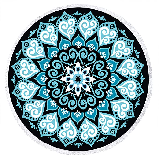 Amazon.com: Ricdecor Beach Towel Large Mandala Beach Towel Blanket with Tassels Ultra Soft Super Water Absorbent Multi-Purpose Beach Throw 59 inch Across ...