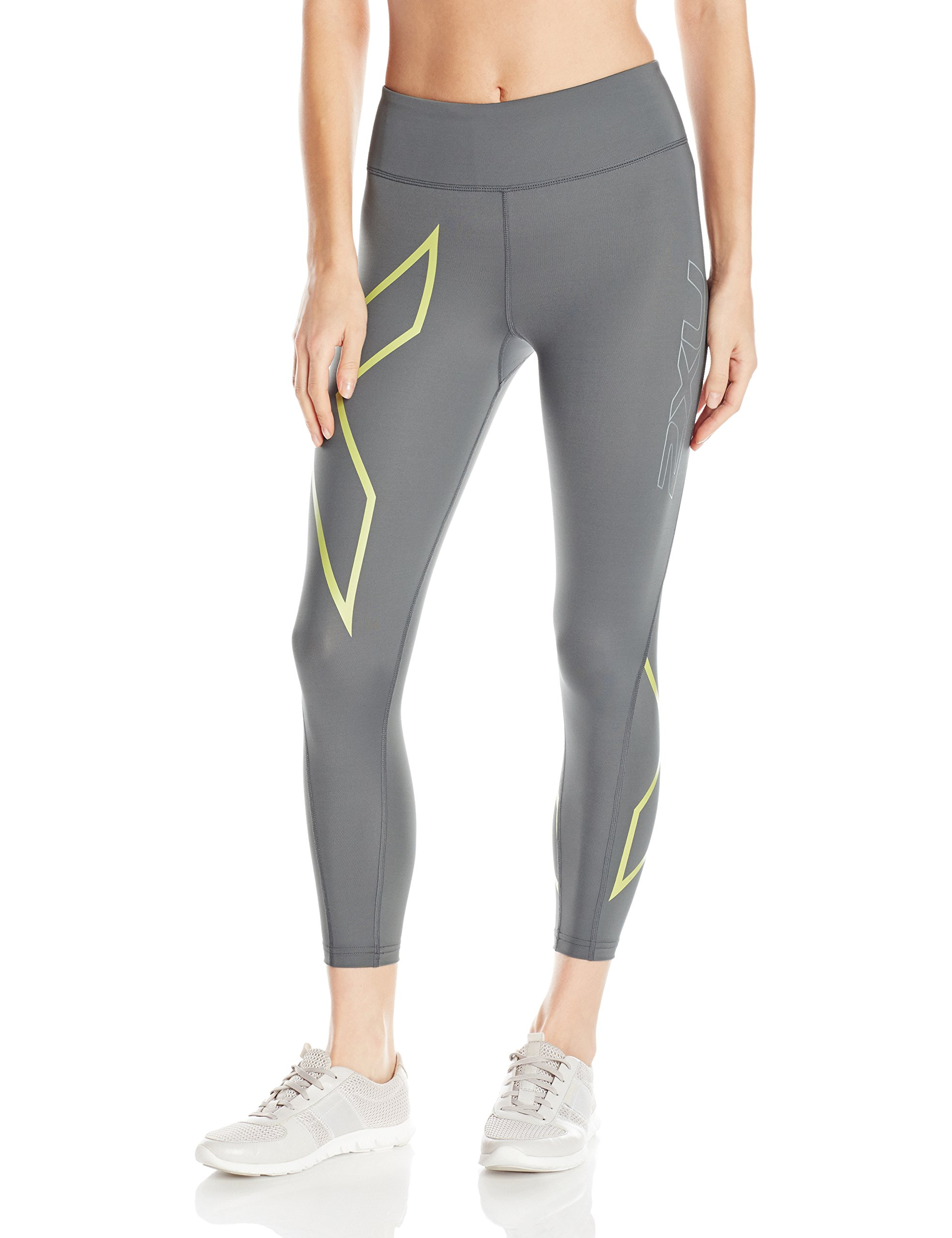 2XU Women's 7/8 Mid-Rise Compression Tights, Small, Slate/Lime Light