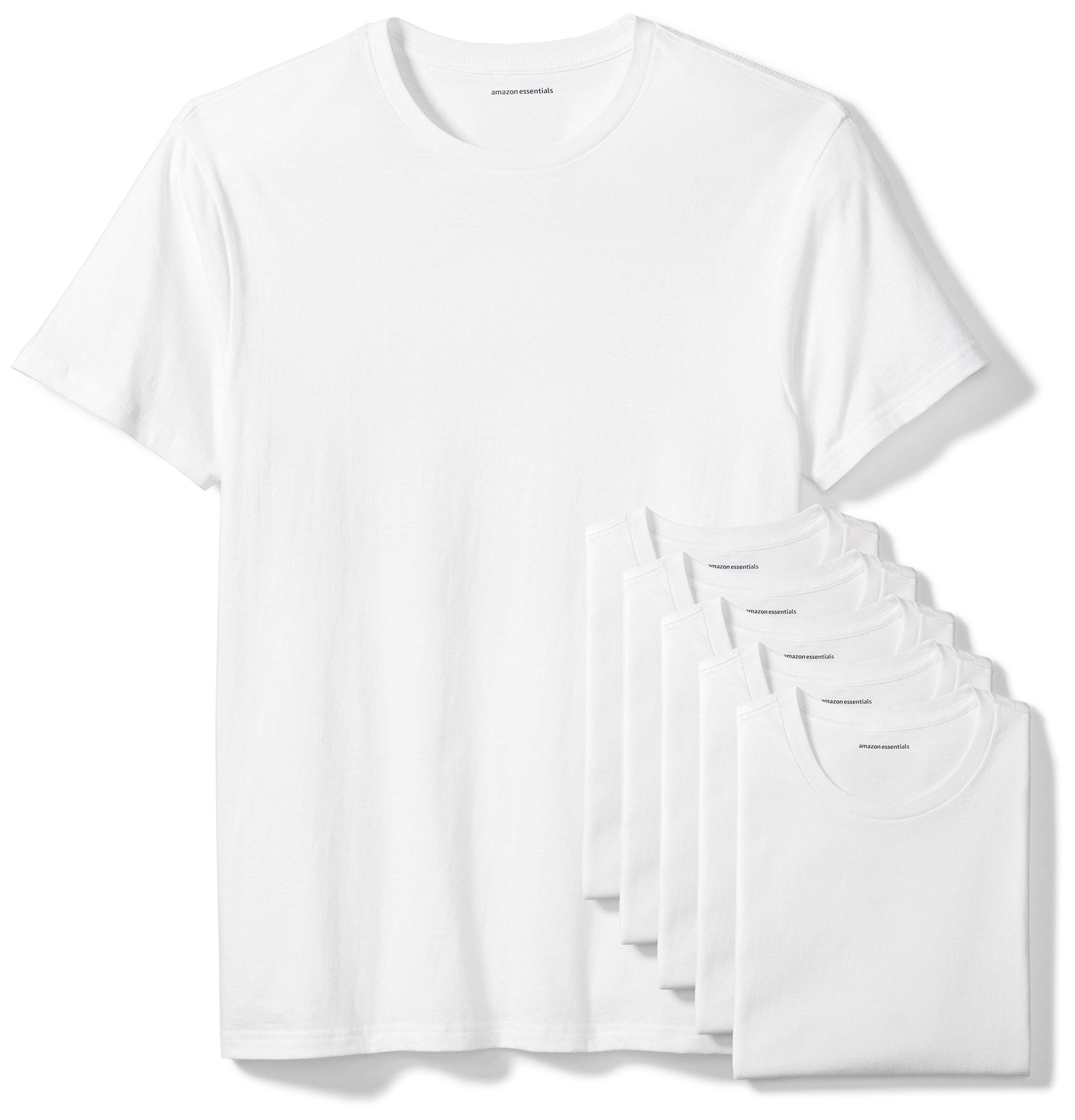 Amazon Essentials Men's 6-Pack Crewneck Undershirts, White, Large by Amazon Essentials