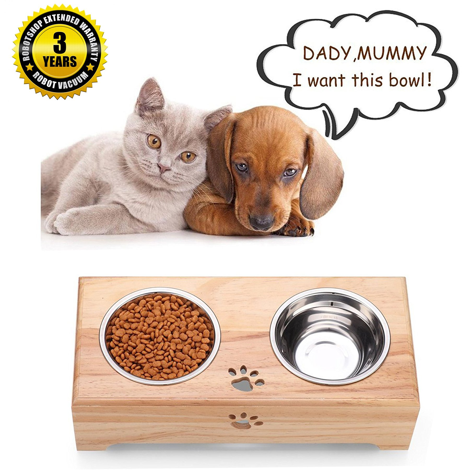 Gelinzon Stainless Steels Pet Dog Cat Food Water Feeder With Double Bowls Fixed Wooden Table