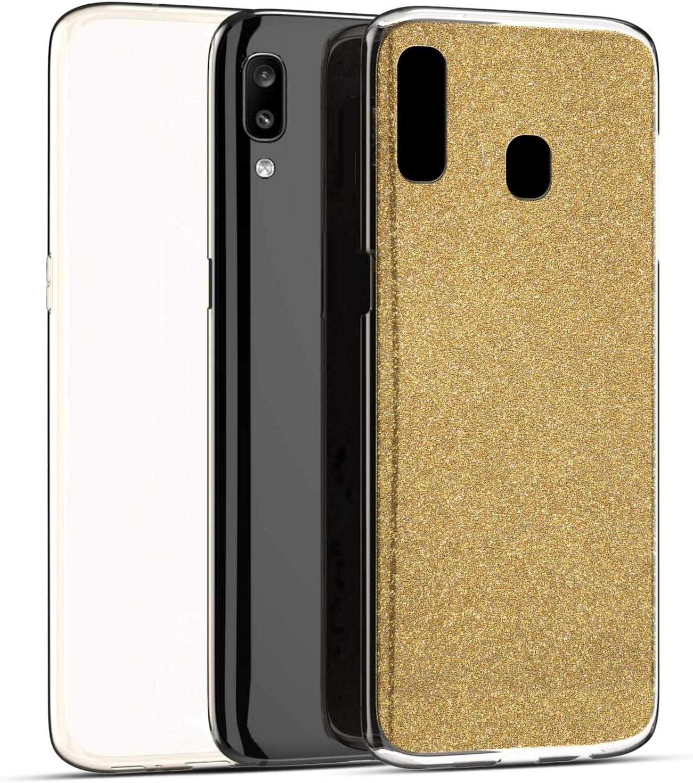 YSIMEE Compatibile con Cover Samsung Galaxy A40 Custodia,360 Gradi Integrale Brillantini Glitter Completa Gel Trasparente Puro TPU Silicone Protettivo Morbida Ultra Sottile Antiurto Case,Argento