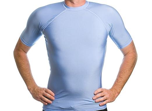 698e4c60 Beach Depot Men's Rash Guard Short Sleeve SPF 50+ Swim Shirt (Small,  Carolina
