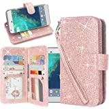 Galaxy S8 Active Case, Linkertech Glitter Shiny Luxury PU Leather Flip Pouch Wallet Case Cover with 12 Card Slots and Wrist Strap for Samsung Galaxy S8 Active (Glitter Rose Gold)