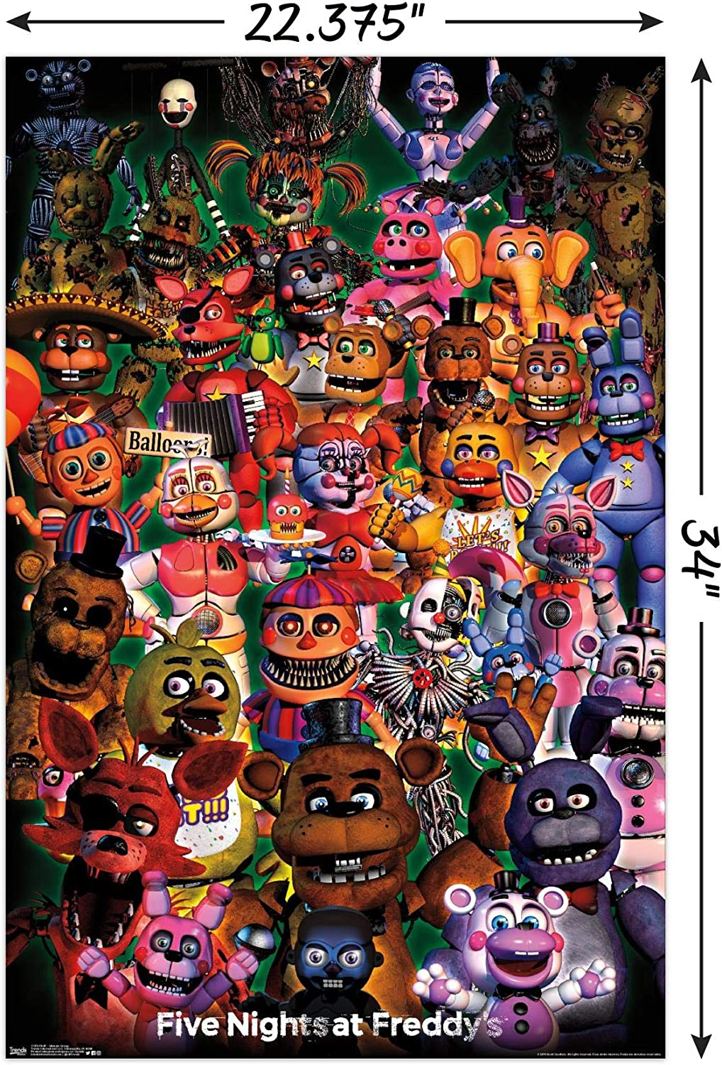 22.375 x 34 Trends International Five Nights at Freddys Poster /& Mount Bundle Ultimate Group Wall Poster