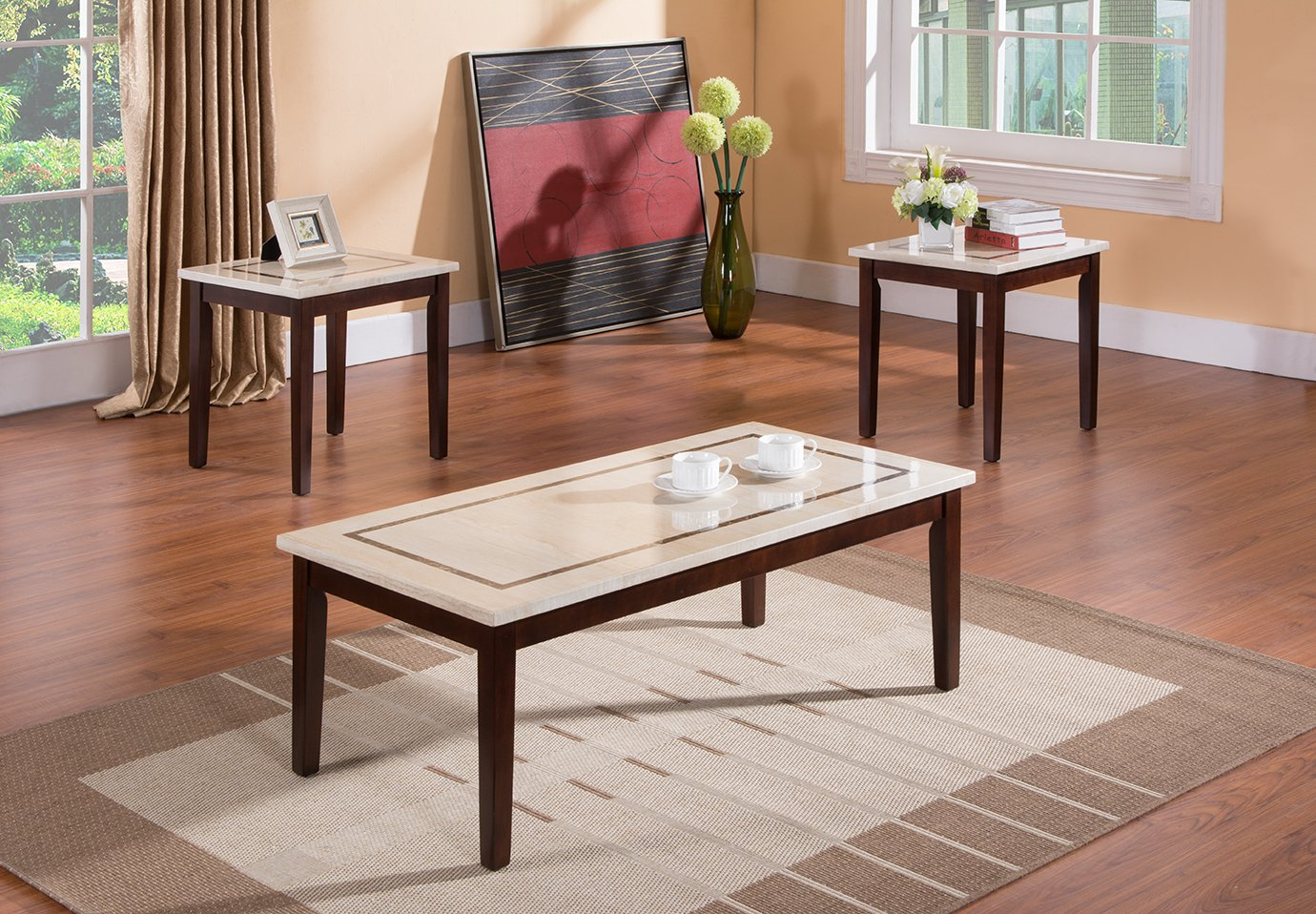 Amazon.com: Kings Brand Faux Marble Top Occasional Table Set Coffee Table  And 2 End Tables: Kitchen U0026 Dining