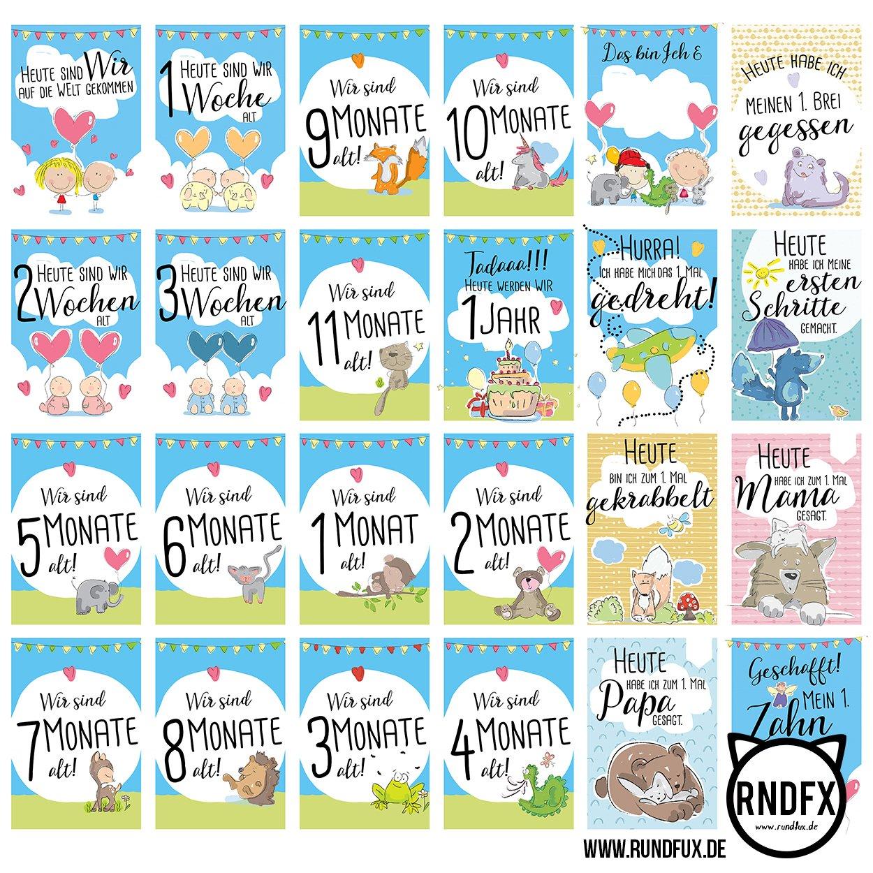 Hallo! Zwillinge - 31 Meilensteinkarten von der Geburt bis zum ersten Lebensjahr - Ein tolles Geschenk zur Schwangerschaft für die Familie - Baby Milestone Cards Zwillinge (Jungen & Mädchen) - Deutsch Rundfux Media