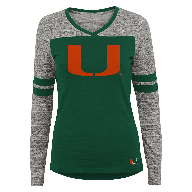 X-Small NCAA Miami Hurricanes Juniors Outerstuff Secret Fan Long Sleeve Football Tee 0-1 Team Color