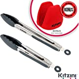 KITZINI Stainless Steel BBQ Tongs Set with Silicone Tips and Silicone Pot Holder