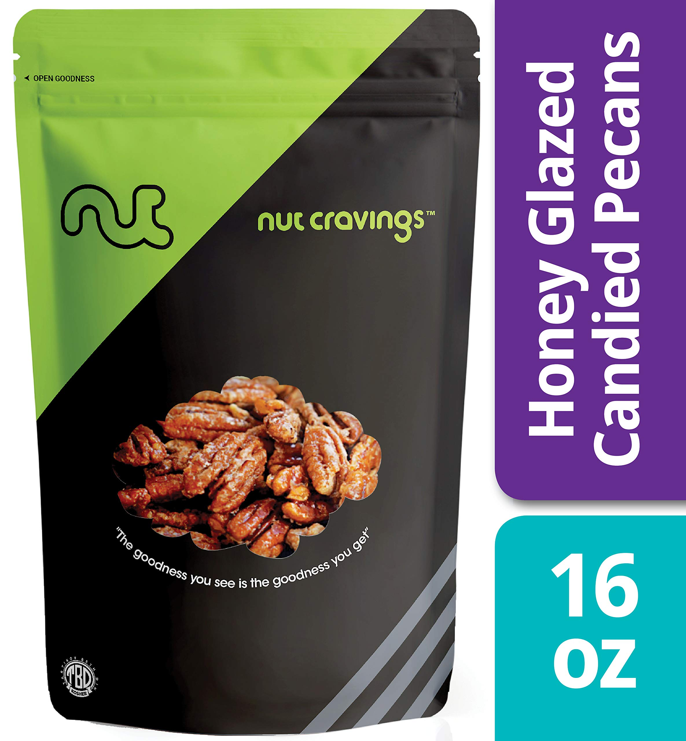 Nut Cravings - Fresh Honey Glazed Candied Pecans (1 Pound) - In Resealable Bag - 16 Ounce