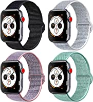 AK Compatible with for Apple Watch Band 38mm 40mm 42mm 44mm, Soft Nylon Wristband with Adjustable Velcro Connector Sport...