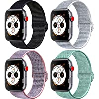 AK Compatible with for Apple Watch Band 38mm 40mm 42mm 44mm, Soft Nylon Wristband with Adjustable Velcro Connector Sport Strap Replacement Compatible with for iWatch Apple Watch Series 4/3/2/1