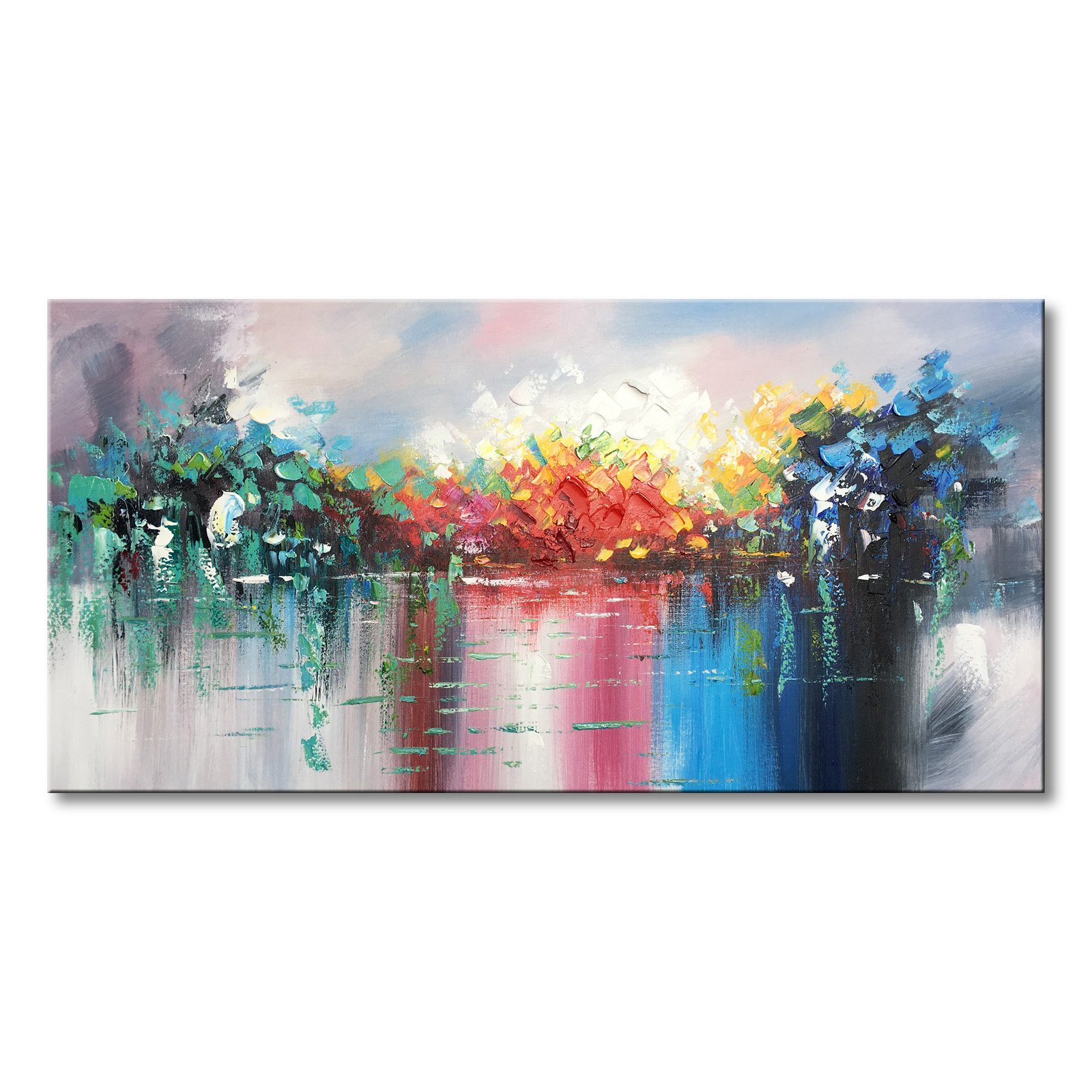 Abstract Landscape Canvas Wall Art Handmade Modern Oil Paintings Lake Scenery Picture by Winpeak Art