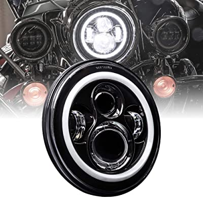 """7"""" CREE LED Harley Headlight [Black-Finish] [HALO DRL] [4500 Lumen] [H4 Converter Plug] [Built-In CANBus] Head Light for Harley Davidson Electra Glide Road King Heritage Softail: Automotive"""