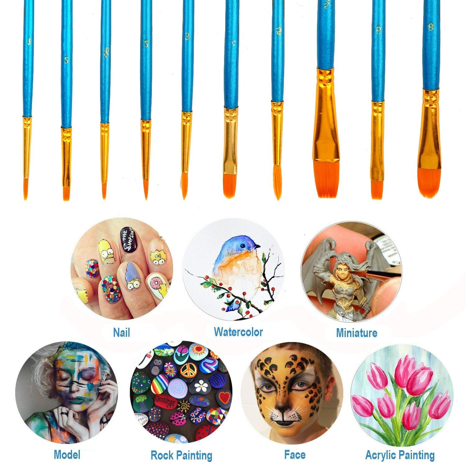 Soucolor Paint Brush Set 10 pcs Nylon Hair Brushes for Acrylic Oil Watercolor Painting Artist Professional Painting Kits for School Supplies Projects