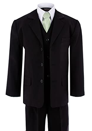 Amazon.com: Gino Giovanni Formal Boy Black Suit with Green Tie ...