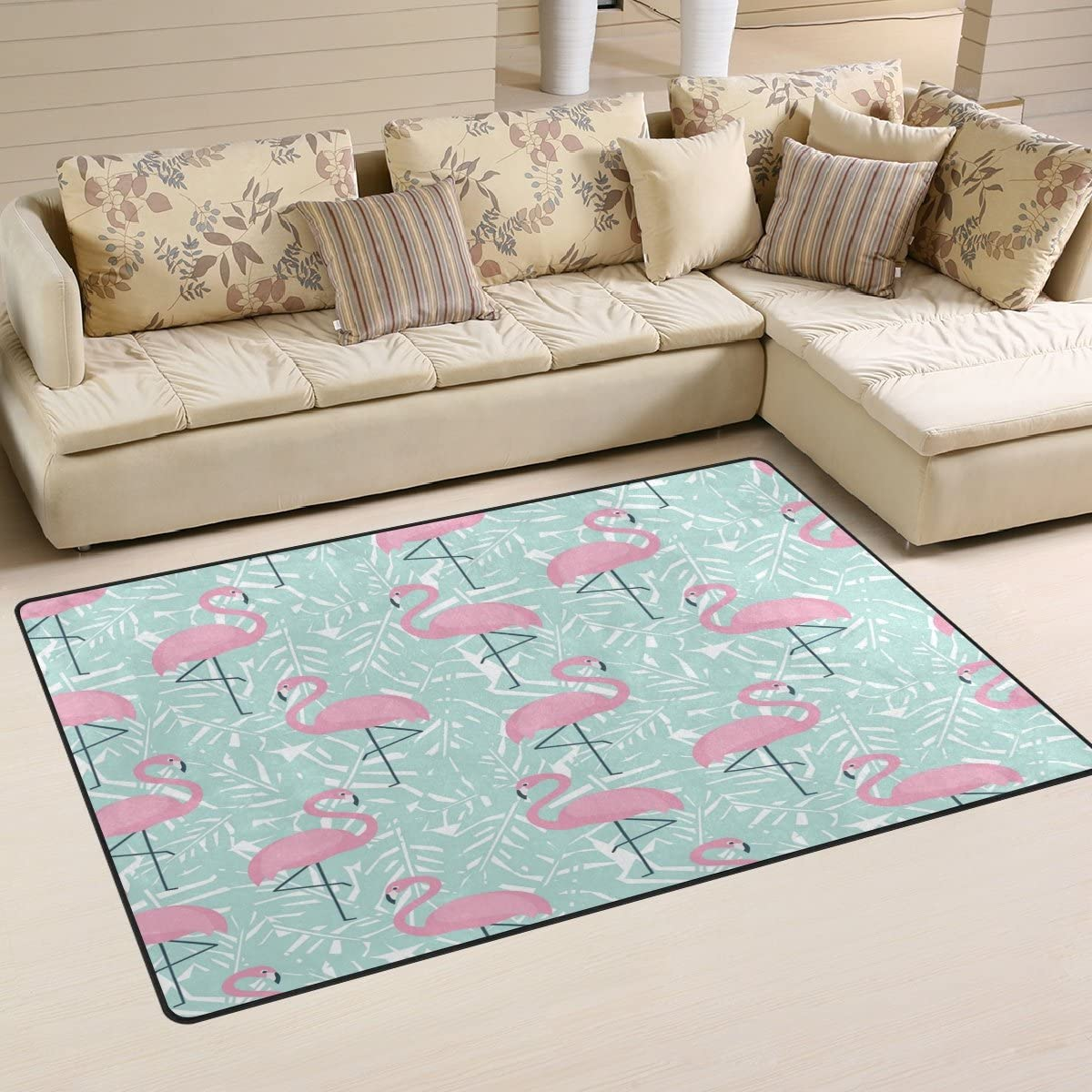 WOZO Tropical Palm Tree Leaves Pink Flamingo Area Rug Rugs Non-Slip Floor Mat Doormat