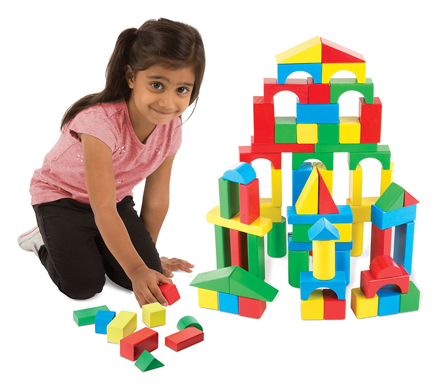 Amazon Melissa & Doug Wooden Building Blocks Set 100 Blocks