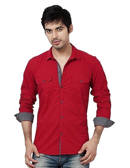 b993da4254 LA Seven Men s Cotton Solid Full Sleeves Slim Fit Double Pocket Shirt  (Maroon