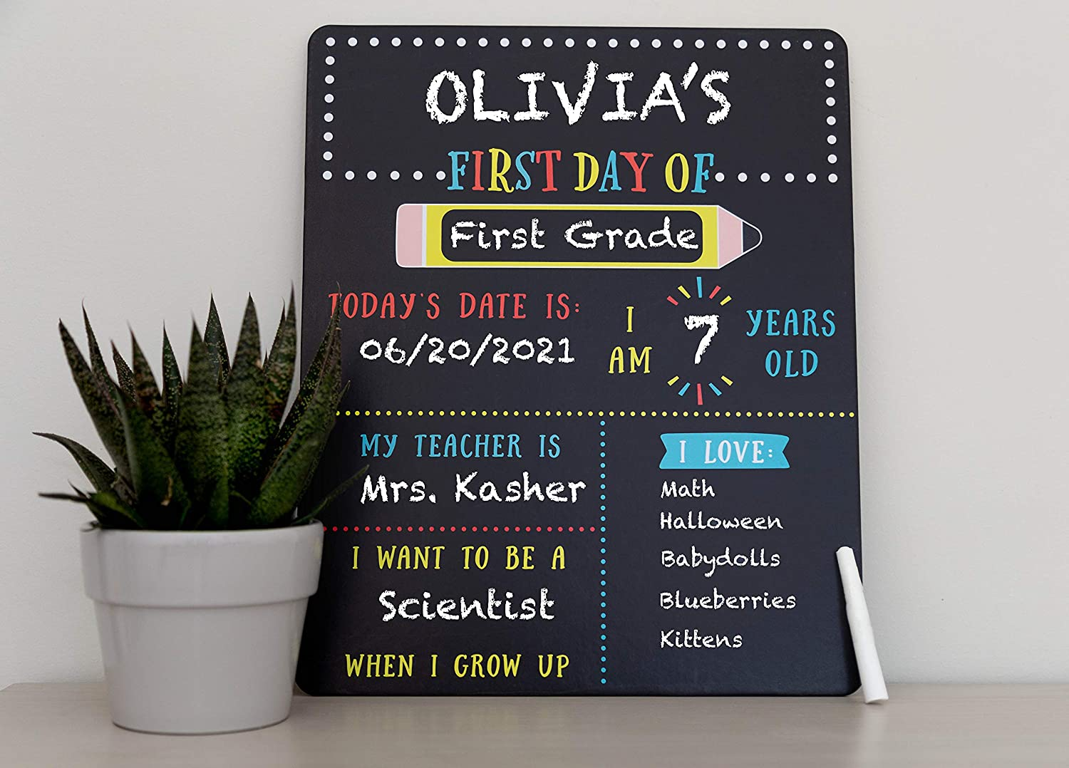 Reusable Photo Sharing Prop with Included Chalk Kate /& Milo First and Last Day of School Reversible Chalkboard