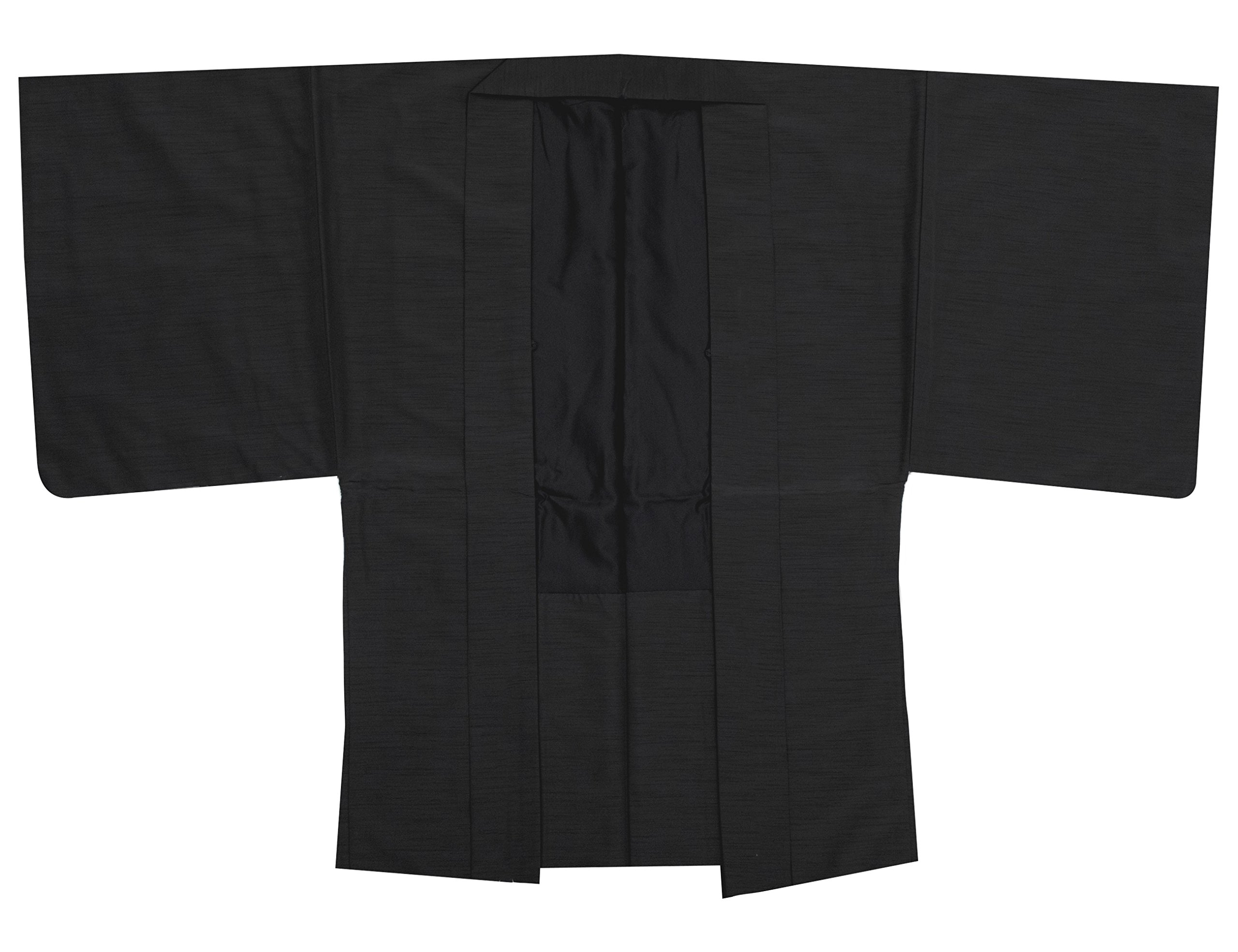 KYOETSU Men's Washable Lined Haori Kimono Jacket Tsumugi Awase (Medium, Black)