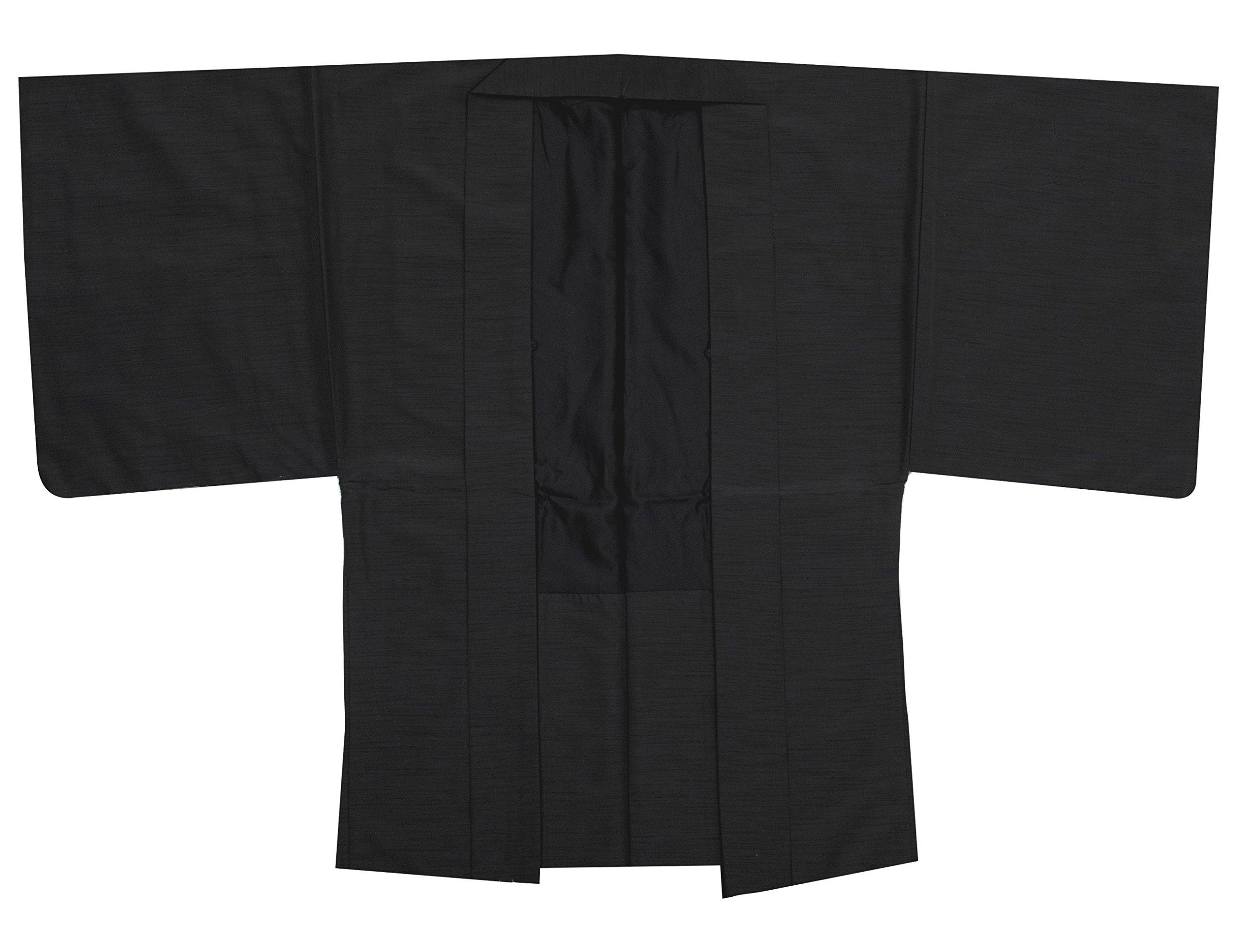 KYOETSU Men's Washable Lined Haori Kimono Jacket Tsumugi Awase (Medium, Black) by KYOETSU
