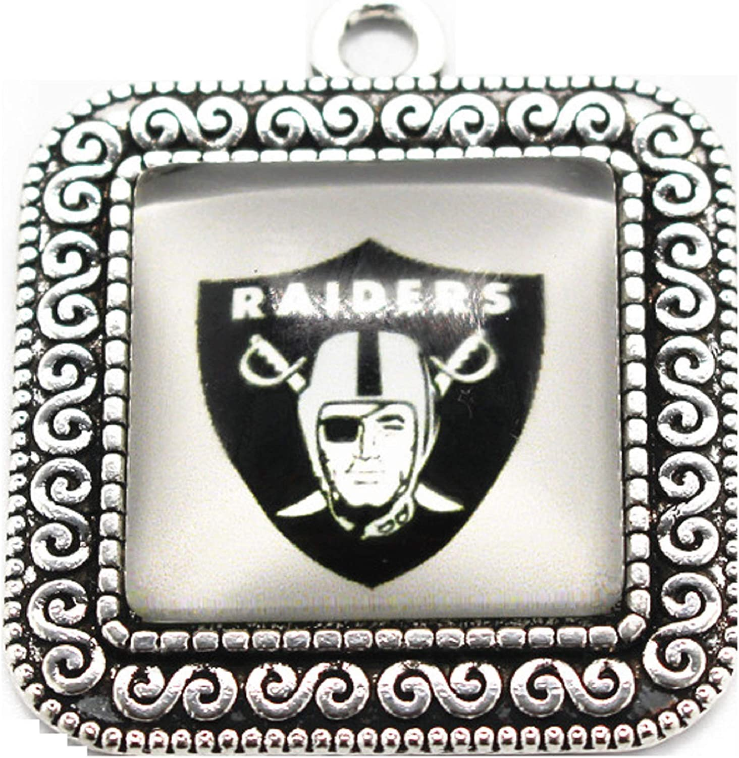 BAS Oakland Raiders Square Filial Charm with Glass Pendant for Bracelets or Necklaces 1 inch by 1 inch