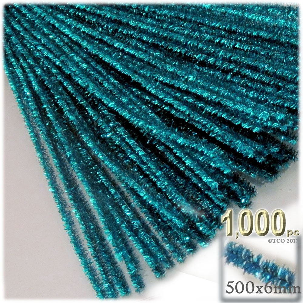 The Crafts Outlet Chenille Sparkly Stems, Pipe Cleaner, 20-in (50-cm), 1000-pc, Ocean Blue