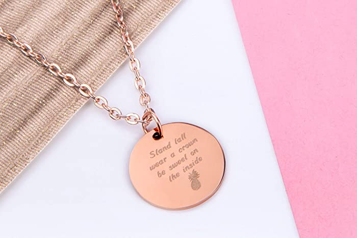 a31c0e3994 Rose Gold Pendant Necklace with Small Rose Gold Coloured Engraved Disc Charm  with a Pineapple and