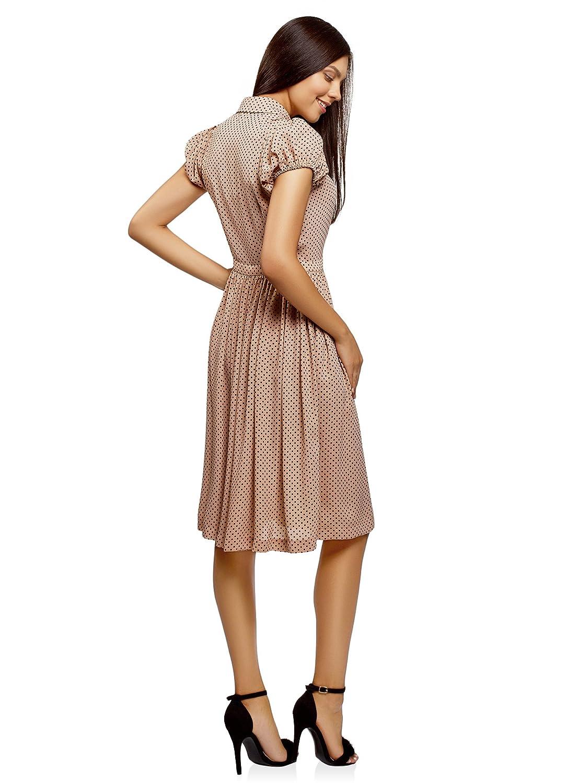 oodji Ultra Mujer Vestido Midi con Falda Acampanada: Amazon.es: Ropa y accesorios